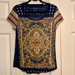 LUCKY BRAND boho chic patterned short sleeve top M